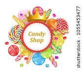 candy shop round frame... | Shutterstock .eps vector #1055453477