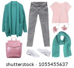 outfit of casual woman. jeans ... | Shutterstock . vector #1055455637
