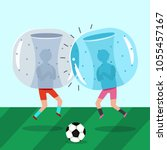 two guys in inflatable zorb... | Shutterstock .eps vector #1055457167