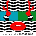 sexy woman legs and lips on the ...   Shutterstock .eps vector #1055475407
