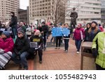 Small photo of DAYTON, OHIO - MARCH 24: Group of people gathered in courthouse square at March for Our Lives gathering in downtown Dayton, Ohio on March 24, 2018.