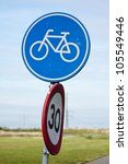 Dutch bicycle lane roadsign - stock photo