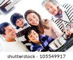 happy family cooking together... | Shutterstock . vector #105549917