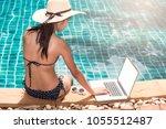 portrait beautiful woman...   Shutterstock . vector #1055512487