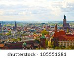 Wroclaw City center, panoramic view from cathedral - stock photo