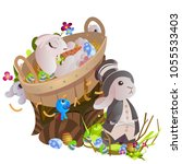 set of easter chocolate egg... | Shutterstock . vector #1055533403