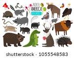 north american animals. animal... | Shutterstock .eps vector #1055548583