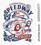 vintage speedway kids roadster... | Shutterstock .eps vector #1055551577