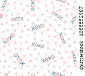 repeating hearts and text xoxo. ... | Shutterstock .eps vector #1055552987