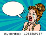 woman funny cries  many tears.... | Shutterstock .eps vector #1055569157