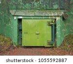 the thick blast door of bunker... | Shutterstock . vector #1055592887