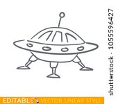 ufo spaceship icon in line... | Shutterstock .eps vector #1055596427