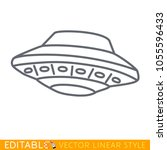 ufo spaceship icon in line... | Shutterstock .eps vector #1055596433