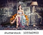 young beautiful women, sitting in vintage sofa  (Photo and hand-drawing elements combined) - stock photo