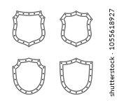 shield shape icons set. black... | Shutterstock .eps vector #1055618927