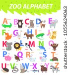 zoo alphabet with cute animals... | Shutterstock .eps vector #1055624063