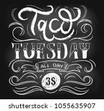 taco tuesday retro poster with... | Shutterstock .eps vector #1055635907