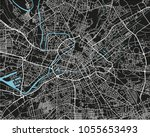 black and white vector city map ... | Shutterstock .eps vector #1055653493