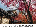 roof of japanese temple ... | Shutterstock . vector #1055674007
