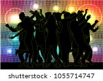 dancing people silhouettes.... | Shutterstock .eps vector #1055714747