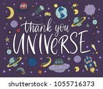 thank you universe. handdrawn... | Shutterstock .eps vector #1055716373