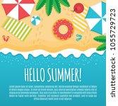 cool summer sea and beach.... | Shutterstock .eps vector #1055729723