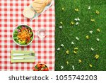 picnic salad meal on a checked...   Shutterstock . vector #1055742203