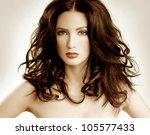 luxurious brunette. beautiful... | Shutterstock . vector #105577433