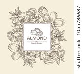 background with almond  almond... | Shutterstock .eps vector #1055786687