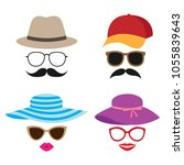 photo booth vector props with... | Shutterstock .eps vector #1055839643
