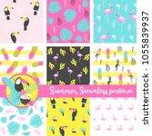 set of summer seamless pattern... | Shutterstock .eps vector #1055839937