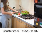 pregnant woman cutting healthy... | Shutterstock . vector #1055841587