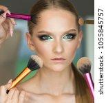 woman getting powder on skin...   Shutterstock . vector #1055845757