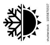 sun and snowflake symbol. hot...