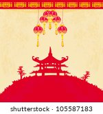 old paper with asian landscape... | Shutterstock .eps vector #105587183