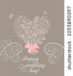 wedding greeting pastel card... | Shutterstock .eps vector #1055890397