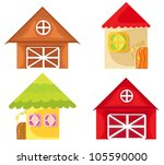 Set of cartoon houses on white background. Farm house. - stock vector