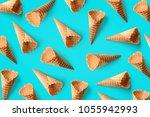 top view empty ice cream cones... | Shutterstock . vector #1055942993