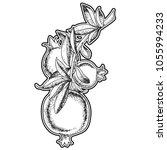 vintage pomegranate branch....   Shutterstock .eps vector #1055994233