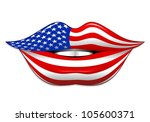 USA Flag Lipstick on Smiling Lips - stock photo