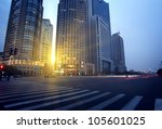 Dusk, Shanghai Pudong road - stock photo