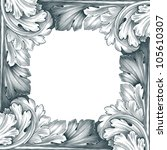 vintage border frame engraving... | Shutterstock . vector #105610307