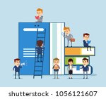 small people reading and... | Shutterstock .eps vector #1056121607
