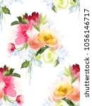 seamless summer pattern with... | Shutterstock . vector #1056146717