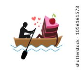 lover of cakes. man and piece... | Shutterstock . vector #1056161573