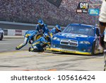 BROOKLYN, MI - JUN 17, 2012:  Brad Keselowski (2) brings in his car for service during the Michigan International Speedway in Brooklyn, MI on June 17, 2012. - stock photo