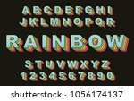 80's retro alphabet font.... | Shutterstock .eps vector #1056174137