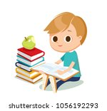cute boy with books | Shutterstock .eps vector #1056192293