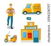 delivery set  postal  service ... | Shutterstock .eps vector #1056228707