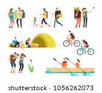 active people hikers. cartoon... | Shutterstock .eps vector #1056262073